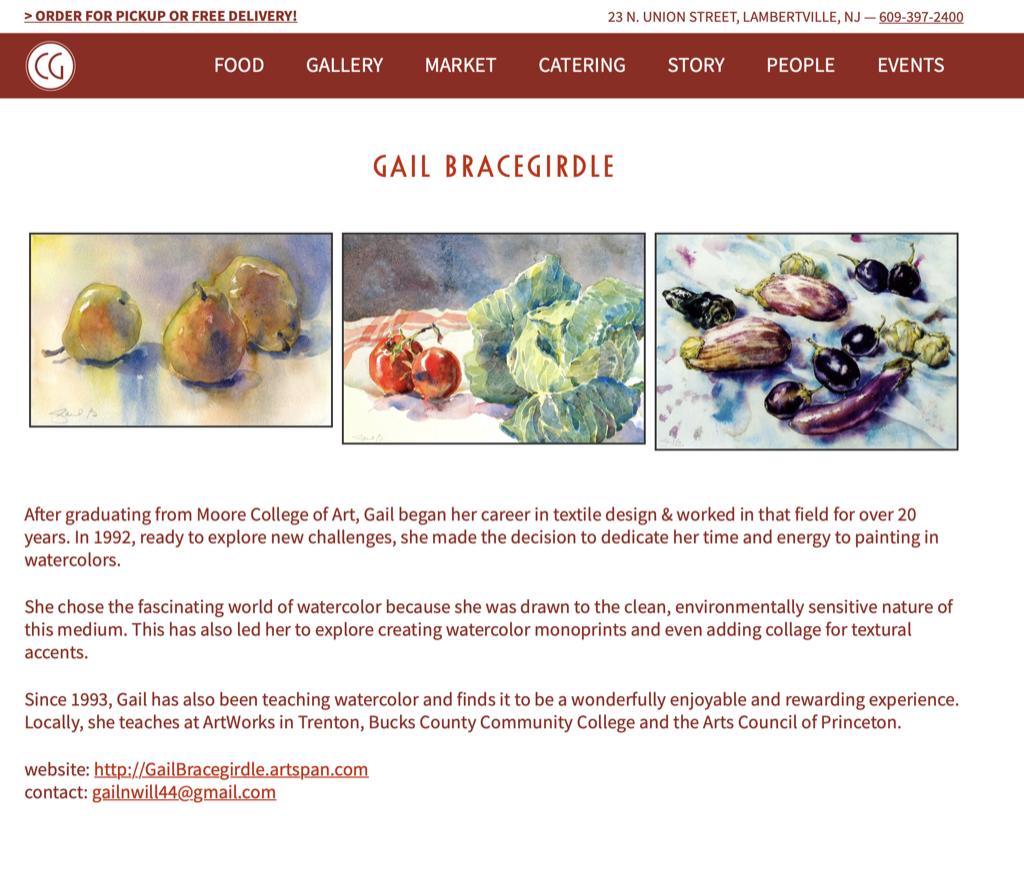 Artist Pages for Restaurant Website